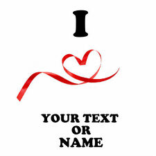 I LOVE ( heart ) Personalised text / name t shirt iron on transfer valentines 29