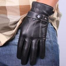 Cool Men Full Finger Mittens Soft Leather Gloves Sports Training Gloves Black