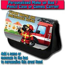 PERSONALISED FIREMAN KIDS GIRLS BOYS PENCIL CASE GAMES CARRIER DS TRAVEL BAG