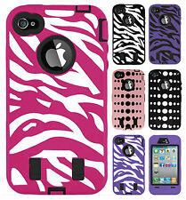 For iPhone 4 4S IMPACT RESISTANT Hard Rubberized Phone Case Cover Accessory