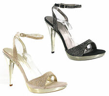 High Stiletto Heels Platform Party Diamante Strappy Womens Shoes Size 3-8 UK