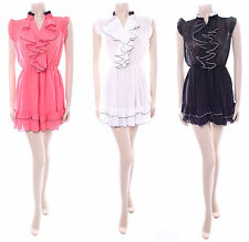 Glance Ladies Sheer Frilly Blouse Dress Top Size XS S M L Diff Colours BNWT