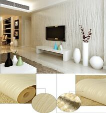 Modern Lines Flocking Non-woven Embossed Textured Wallpaper Roll 3 Colors