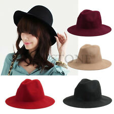 Vintage Ladies Women Wide Brim Wool Felt Hat Floppy Bowler Fedora Cap