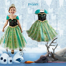 Halloween Girls Kids Princess Frozen Elsa Anna Cosplay Party Gown Fancy Dress