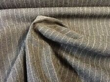 MADE IN ITALY CHARCOAL GREY WOOL BLEND SERGE STRETCH FINE BRONZE PIN STRIPE B144