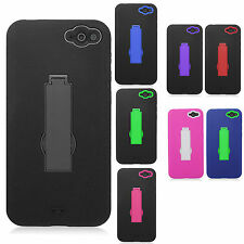 Amazon Fire Impact Hard Rubber Case Phone Cover Kick Stand + Screen Protector