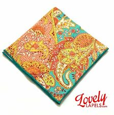 ORANGE TURQUOISE PAISLEY POCKET SQUARE OR ROUND Handmade Handkerchief, Hankie