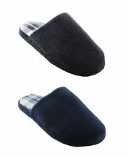 Mens Terry Mule Slipper with Check Design Sole ~ Black or Navy Blue
