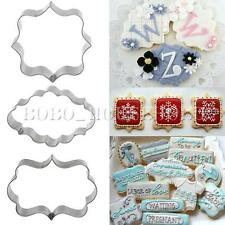 Fancy Plaque Frame Stainless Steel Cookie Cutter Fondant Cake Mold Mould Set