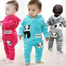 2pcs Baby Toddler Panda Hoodie Outerwear Top+Pant Boy Girl Children Clothing set