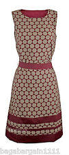 NEW MONSOON DARK RED BURGUNDY VINTAGE STYLE CIRCLE SPOT EVENING PARTY TEA DRESS