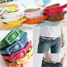 New Style Women Ladies Buckle Belt Candy Color PU Decorative Thin Belts --OD CA