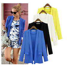 Women Loose Oversized Slim Suit Long Sleeve Lapel Outwear Blazer Coat Jacket
