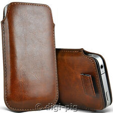 BROWN (PU) LEATHER PULL TAB POUCH CASES FOR LATEST RANGE OF MOBILE PHONES