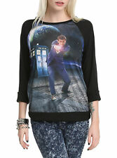 BBC DR Who TENTH DOCTOR DAVID TENNANT Crewneck Pullover Raglan Blouse Shirt Top