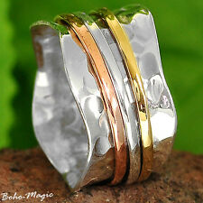 Sterling Silver 925 Spinning Ring Meditation Spin Spinner Tapping Size Boho Co2