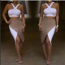 Crop Top + Patchwork Pencil Skirt Bodycon 2PCS Set Bandage Evening Dress @SJ1120