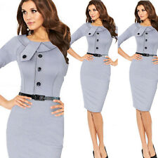 Hot Womens Elegant Cotton Tunic Business Casual Wear To Work Party Pencil Dress