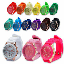 Childrens Girl Analog Quartz Wrist Watch Geneva Jelly Golden Crystal Silicone