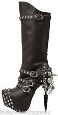New Gothic Black Pirate Inspired Knee High Boots Steampunk Flair Sizes 6-11