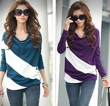 Fashion Pregnant Womens Blouses Diagonal Striped Maternity Tops Casual Shirts S