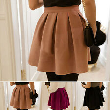 Lady Cotton Blend High Waist Mini Skirt Autumn Winter Pleated Skirts Solid Color