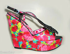 Iron Fist INDECENT OBSESSION Strawberry Rockabilly Platform WEDGE SHOES Size 5