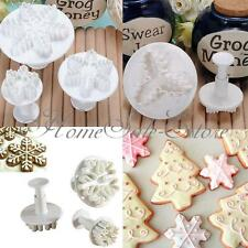 Xmas Flower Snowflake Fondant Cake Decorating Cookie Mold Cutters Baking Tools