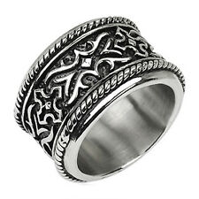316L Stainless Steel Men's Ultra-Wide & Ultra-Heavy Embossed Band Ring Size 9-15