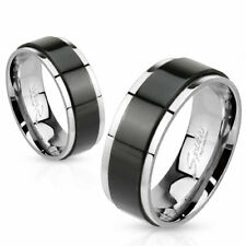 316L Stainless Steel Black & Silver 2-Tone Spinning Wedding Band Ring Size 5-14