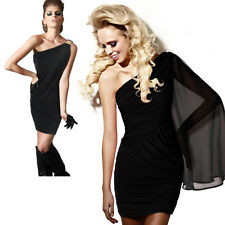 Sexy One Shoulder Asymmetric Ruched Bodycon Mini Cocktail Party Clubbing Dress