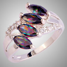 New Marquise Cut Rainbow & White Sapphire Gemstones Silver Ring Size L N P R T V