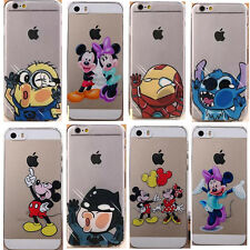 Cute Cartoon Animals Transparent Case Cover Back Skin For iPhone 5S 5C 4S 6