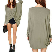 Women Lady Sex Flip Crossed Deep V Neck Pleated Blouse Tops Long Sleeve T shirts