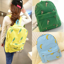 Retro Womens OK Hands Onion Banana Pattern Print Canvas Backpack Schoolbags