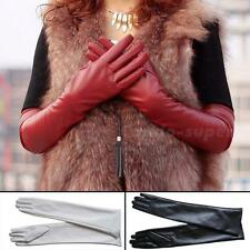 Women's Faux Leather BLACK Winter Long Gloves Warm Lined CSUG