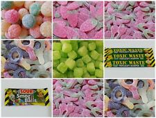 ASSORTED SOUR SWEETS (LOW POSTAGE, WE POST UP TO 600g FOR ONLY £1.30!)