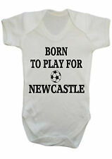 BABY BOY,BORN TO PLAY FOR NEWCASTLE VEST,BABY GROW,ROMPER,BODYSUIT GIFT