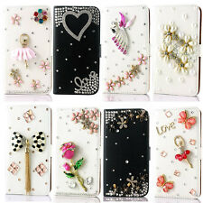 For Samsung galaxy note 4 flip leather stand card holder phone case diamond