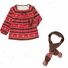 Gymboree Winter Cheer 2 pc-Fair Isle Top and Knit Scarf 5 6 NWT