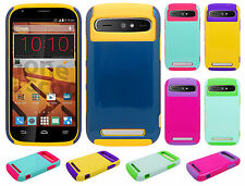 For Boost Mobile ZTE Warp Sync N9515 NEST HYBRID HARD Case Rubber Phone Cover