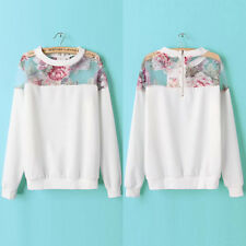 Fashion Womens Splicing Pullover Hoodie Jumper Floral Sweats Sweatshirt Blouse