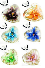 NICE Flower Lucency Heart Shape Murano Art Glass Pendant Necklace Free Cord c461