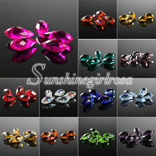 100pcs Faceted Top-drilled 6x12/8x13mm Glass Crystal Teardrop Beads Drop Pendant