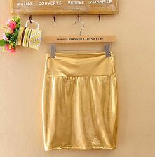 Women Sexy Gold Faux Metallic Leather Shiny Mini Pencil Club Party Hot Skirt
