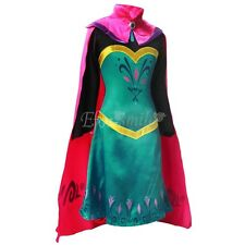 New Halloween Cosplay Costume Frozen Queen Elsa Girls Coronation Robe Dress+cape
