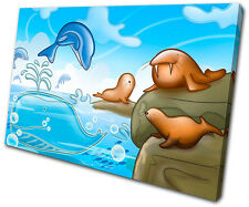For Kids Room Dolphin Walrus Seal SINGLE CANVAS WALL ART Picture Print VA