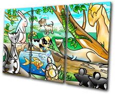 For Kids Room Animals Pets TREBLE CANVAS WALL ART Picture Print VA