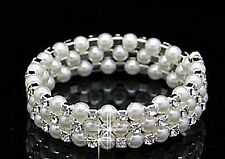 Women Wedding Bridal Bridmaid Pearl Crystal Bling Wristband Bracelet Chain